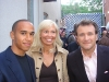 Venture capitalist Robert Herjavec with wife Diane Plese, and British Formula One racing driver, Lewis Hamilton.