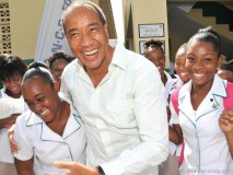 Michael Lee-Chin is in his element at an event for the National Commercial Bank Foundation in Jamaica.