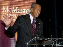 Michael Lee-Chin speaks to students at McMaster University.