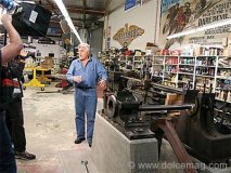 The doors of Jay Leno's custom-built Big Dog Garage lifted for an exclusive private viewing for two.