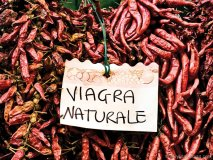 """""""Viagra Naturale"""" sign for red hot chili peppers in Amalfi Village."""