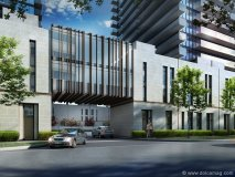 This exterior rendering of the Urban Townhome Collection displays its modern-meets-luxurious design