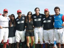 Justin Fogarty, left, with his team at a polo match in Madrid.