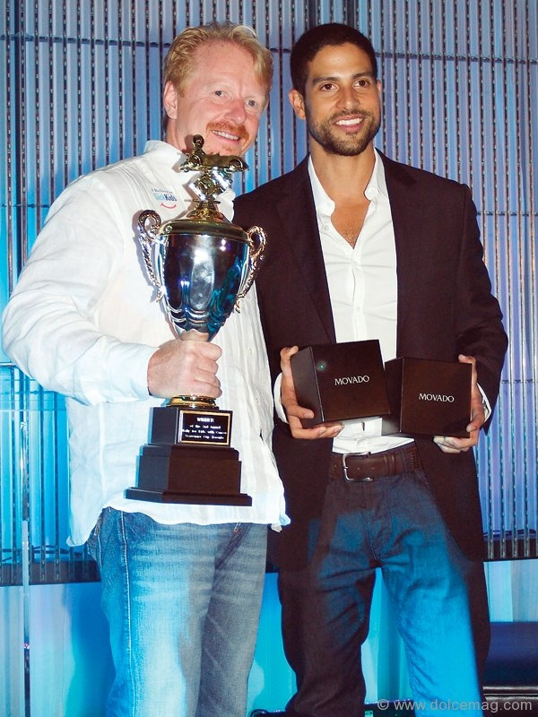 The Rally for Kids with Cancer winners Olive Bock, left, CEO Solutions 2 Go and actor Adam Rodriguez, of CSI: Miami