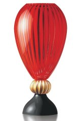 Hand-crafted ruby glass art vase.