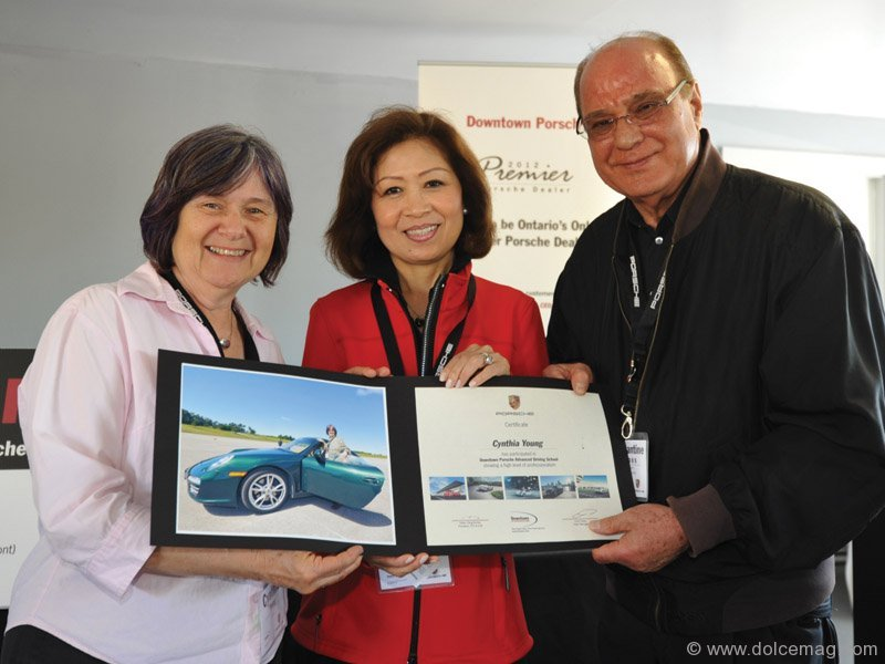 Principal, president and CEO of DFC Auto Group, Helen Ching-Kircher, poses with one of the event's participants (left) and DFC Auto Group's senior vice-president of operations, Constantine Siomos.